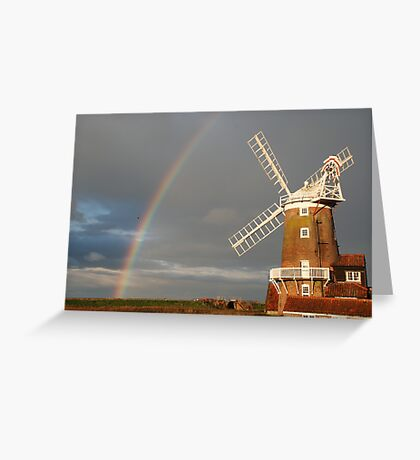 Cley Windmill and Rainbow 2010 Greeting Card