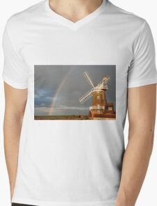Cley Windmill and Rainbow 2010 Mens V-Neck T-Shirt
