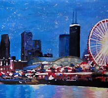 Chicago Skyline With Ferris Wheel by artshop77