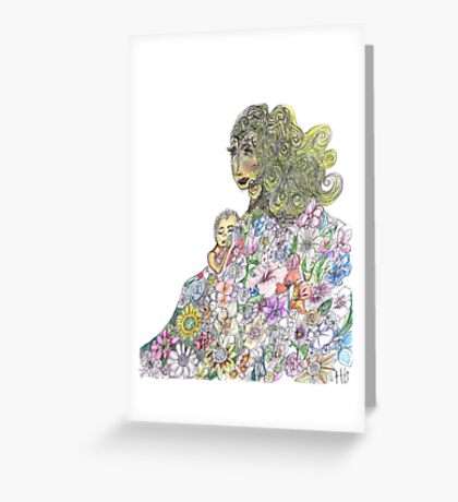 Mother And Child Spring Garden Floral Greeting Card