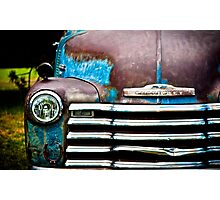 Vintage Blue Chevy Photographic Print