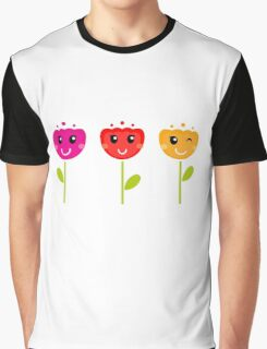 Cute colorful tulips. Colorful cartoon Artwork. Graphic T-Shirt