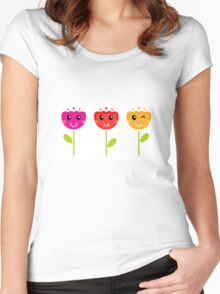 Cute colorful tulips. Colorful cartoon Artwork. Women's Fitted Scoop T-Shirt