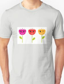 Cute colorful tulips. Colorful cartoon Artwork. Unisex T-Shirt