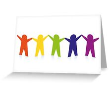 Diverse row of paper people holding hands Greeting Card