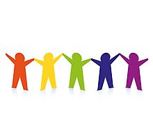 Diverse row of paper people holding hands Photographic Print