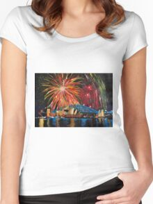 Sydney Silvester Fireworks At New Year Women's Fitted Scoop T-Shirt