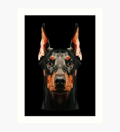 Doberman low poly Art Print