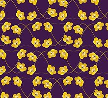 Blooming Flowers and Petals - Purple Yellow by sitnica