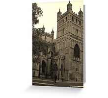 Exeter Cathedral in Sepia Greeting Card