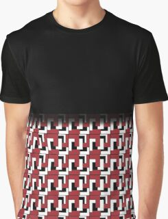 Retro Red Black White Tile Fade Out Graphic T-Shirt