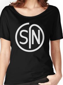 NJS SIN T-Shirt White Print Women's Relaxed Fit T-Shirt