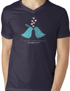 You cant blame gravity for falling in love love birds kissing T-Shirts and Gifts Mens V-Neck T-Shirt
