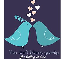 You cant blame gravity for falling in love love birds kissing T-Shirts and Gifts Photographic Print