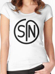 NJS SIN T-Shirt Black Print Women's Fitted Scoop T-Shirt