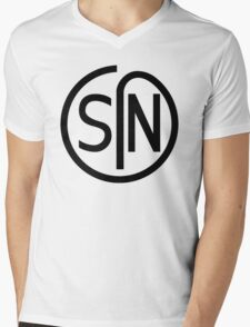 NJS SIN T-Shirt Black Print Mens V-Neck T-Shirt