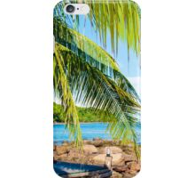 Sunbeds on exotic tropical palm beach, relax concept iPhone Case/Skin