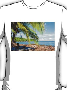 Sunbeds on exotic tropical palm beach, relax concept T-Shirt