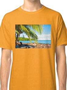 Sunbeds on exotic tropical palm beach, relax concept Classic T-Shirt