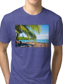 Sunbeds on exotic tropical palm beach, relax concept Tri-blend T-Shirt