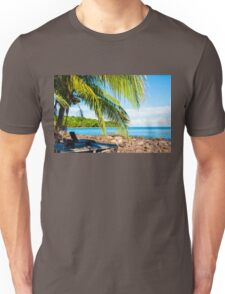 Sunbeds on exotic tropical palm beach, relax concept Unisex T-Shirt