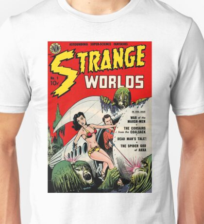 Strange Worlds - Classic SciFi Comic Artwork Unisex T-Shirt