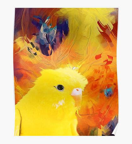 abstract yellow bird Poster