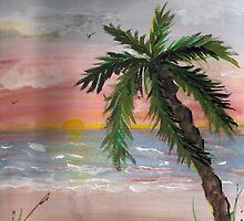 Painting of Palm Tree at Sunset by AngelDeb39