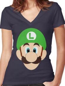 Simplistic Luigi Women's Fitted V-Neck T-Shirt