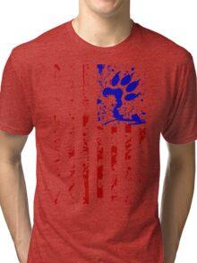 Paws & Stripes - Full Length T-Shirt (Red & Blue) Tri-blend T-Shirt