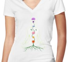 Meditating Woman Chakra Flowers art photo print Women's Fitted V-Neck T-Shirt