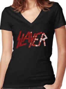 SLAYER Metal Band Logo Blood Spatter BLACK Women's Fitted V-Neck T-Shirt