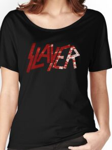 SLAYER Metal Band Logo Blood Spatter BLACK Women's Relaxed Fit T-Shirt