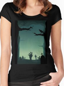 Halloween Cemetery Women's Fitted Scoop T-Shirt