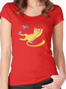 Cat On A Swing Women's Fitted Scoop T-Shirt