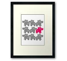 be different design muster viele team freunde gruppe party popo arsch hintern lustig comic dick cartoon kleines süßes niedliches nilpferd glücklich  Framed Print