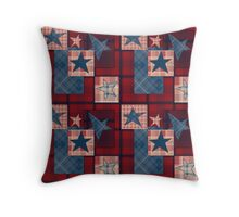 Red  denim patchwork . Throw Pillow