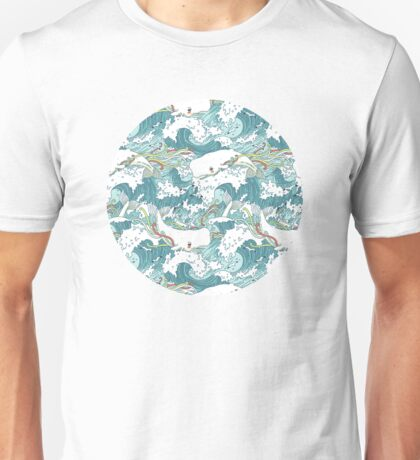 Whales and Waves Pattern Unisex T-Shirt