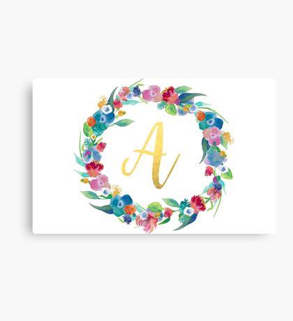 Floral Initial Wreath Monogram A Canvas Print