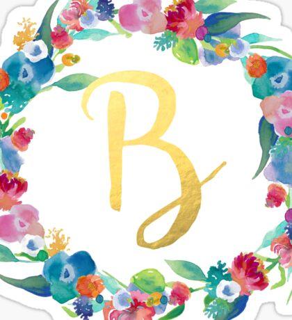 Floral Initial Wreath Monogram B Sticker