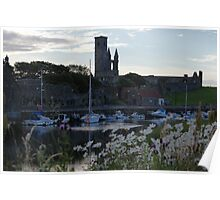 St Andrews Harbour and White Flowers Poster