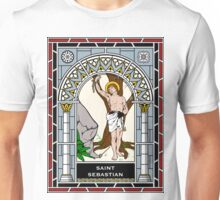 ST SEBASTIAN under STAINED GLASS Unisex T-Shirt