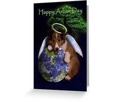 Happy Arbor Day Angel Sheltie Greeting Card