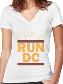 Redskins - Run DC - Run DMC Women's Fitted V-Neck T-Shirt
