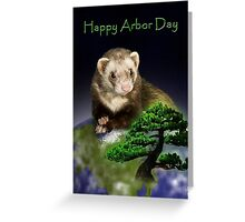 Happy Arbor Day Ferret Greeting Card
