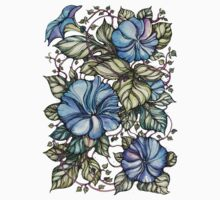 Blue flowers One Piece - Short Sleeve