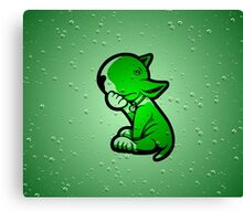 1 Beer Too Many Bull Terrier Green Canvas Print