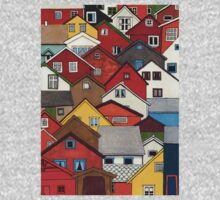 Colourful Houses One Piece - Short Sleeve