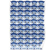 Owl Eyes Abstract Blue Poster