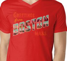 Greetings From Boston Mass Mens V-Neck T-Shirt